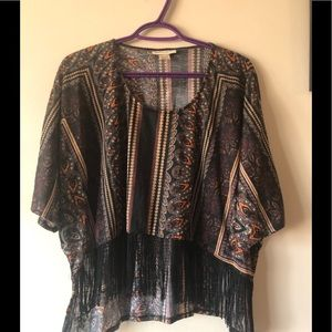 Cropped Fringed Tribal tee